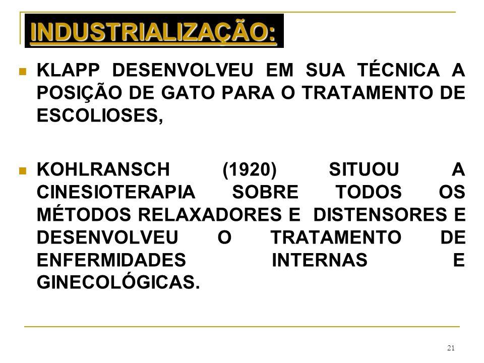 21 INDUSTRIALIZAÇÃO: KLAPP DESENVOLVEU EM SUA TÉCNICA A POSIÇÃO DE GATO PARA O TRATAMENTO DE ESCOLIOSES, KOHLRANSCH (1920) SITUOU A CINESIOTERAPIA SOB