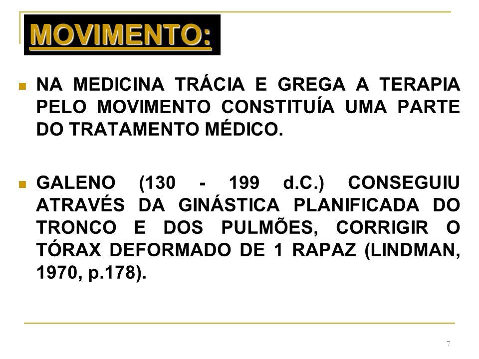 7 MOVIMENTO: NA MEDICINA TRÁCIA E GREGA A TERAPIA PELO MOVIMENTO CONSTITUÍA UMA PARTE DO TRATAMENTO MÉDICO. GALENO (130 - 199 d.C.) CONSEGUIU ATRAVÉS