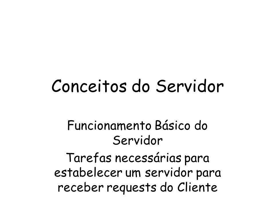 Conceitos do Servidor Funcionamento Básico do Servidor Tarefas necessárias para estabelecer um servidor para receber requests do Cliente