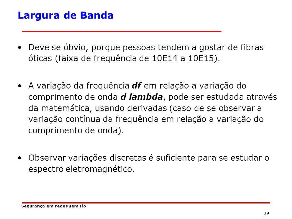 18 Segurança em redes sem Fio Largura de Banda É a quantidade de informação que uma onda eletromagnética pode portar.