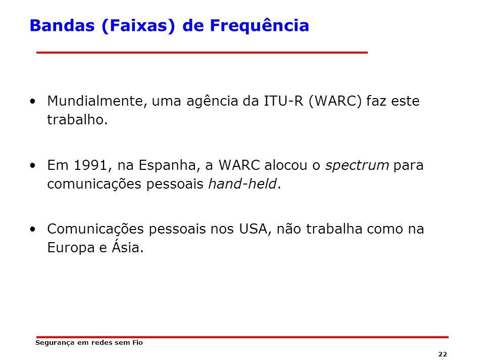 21 Segurança em redes sem Fio Largura de Banda Para evitar o caos no uso das frequências, existem acordos nacionais e internacionais sobre quem obtém tais frequências.