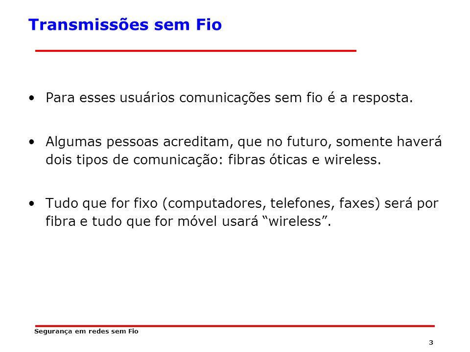 2 Segurança em redes sem Fio Transmissões sem Fio Para esses usuários móveis, par trançado, cabo coaxial e fibra ótica não têm uso.