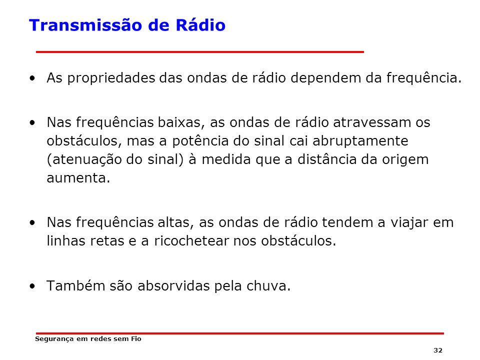 31 Segurança em redes sem Fio Transmissão de Rádio As ondas de rádio são fáceis de gerar, modular, percorrem longas distâncias e atravessam obstáculos facilmente.