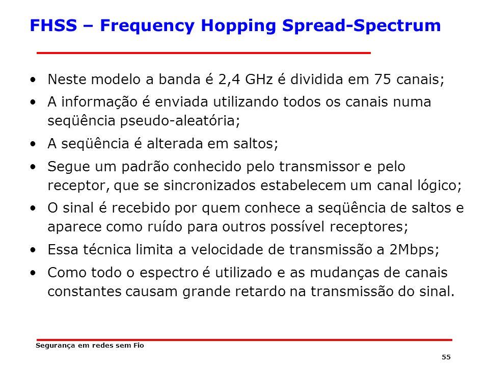 54 Técnicas de transmissão em Redes sem Fio IEEE 802.11 FHSS DSSS OFDM Segurança em redes sem Fio