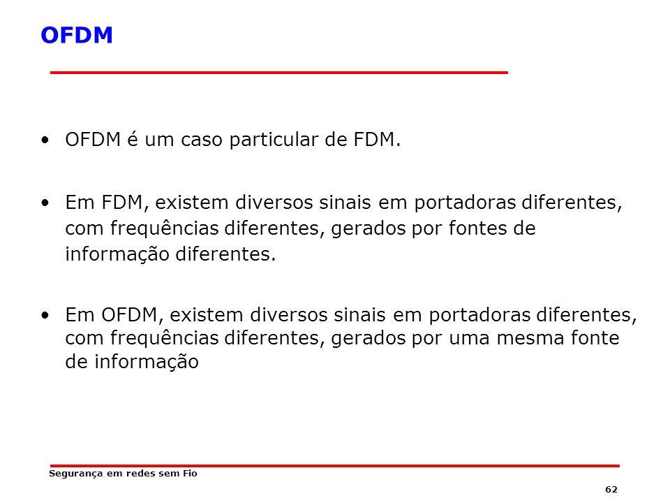 61 OFDM Ortogonal Frequency Division Multiplexing É uma combinação de modulação e multiplexação.