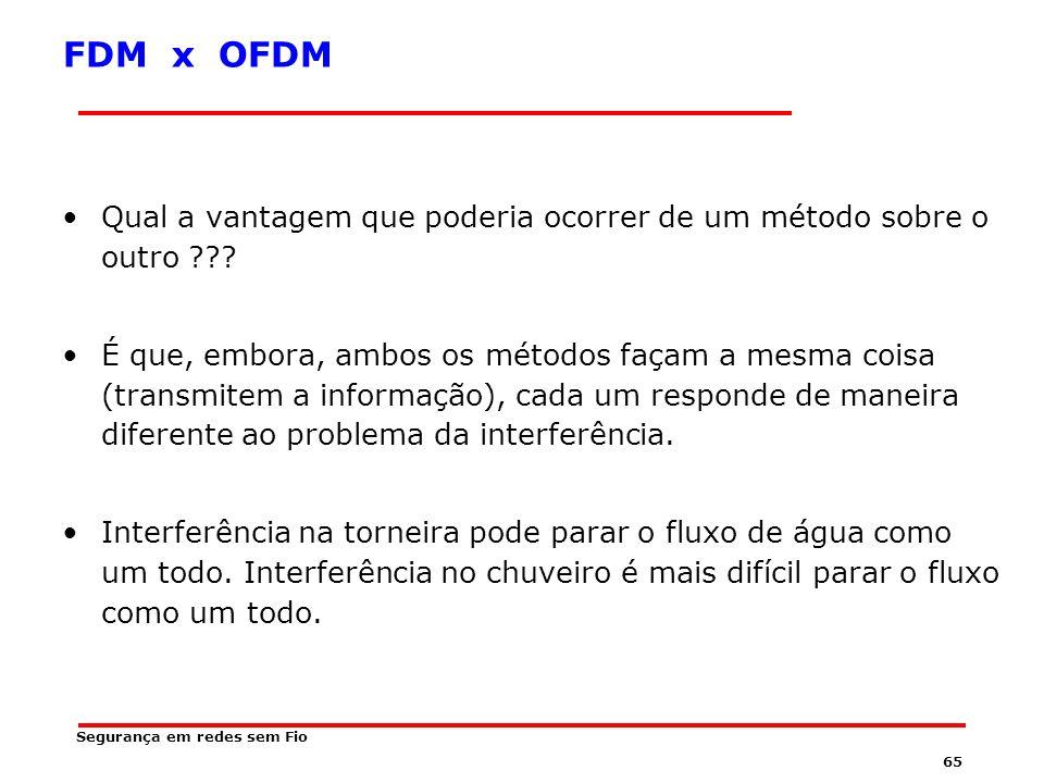 64 FDM x OFDM Em FDM, uma determinada fonte de informação não pode dividir seu stream de informação que é gerado num único stream, como ocorre, de forma análoga, numa torneira aberta correndo água.