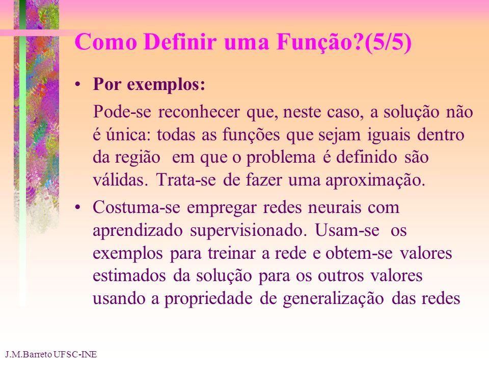 J.M.Barreto UFSC-INE Como Definir uma Função (5/5) Por exemplos: Pode-se reconhecer que, neste caso, a solução não é única: todas as funções que sejam iguais dentro da região em que o problema é definido são válidas.