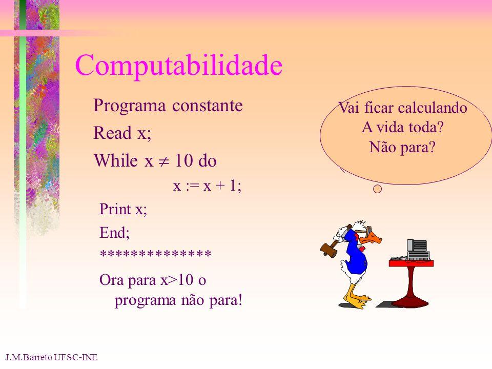 J.M.Barreto UFSC-INE Computabilidade Programa constante Read x; While x 10 do x := x + 1; Print x; End; ************** Ora para x>10 o programa não para.