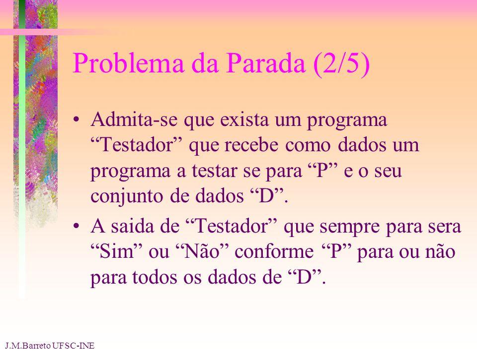J.M.Barreto UFSC-INE Problema da Parada (2/5) Admita-se que exista um programa Testador que recebe como dados um programa a testar se para P e o seu conjunto de dados D.