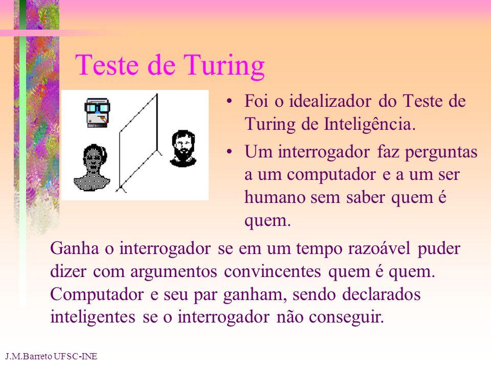 J.M.Barreto UFSC-INE Teste de Turing Foi o idealizador do Teste de Turing de Inteligência.