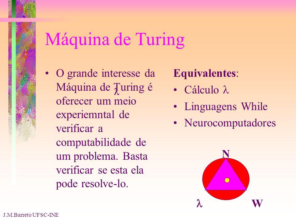 J.M.Barreto UFSC-INE Máquina de Turing O grande interesse da Máquina de Turing é oferecer um meio experiemntal de verificar a computabilidade de um problema.