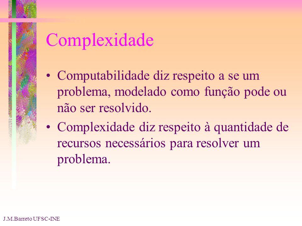 J.M.Barreto UFSC-INE Complexidade Computabilidade diz respeito a se um problema, modelado como função pode ou não ser resolvido.