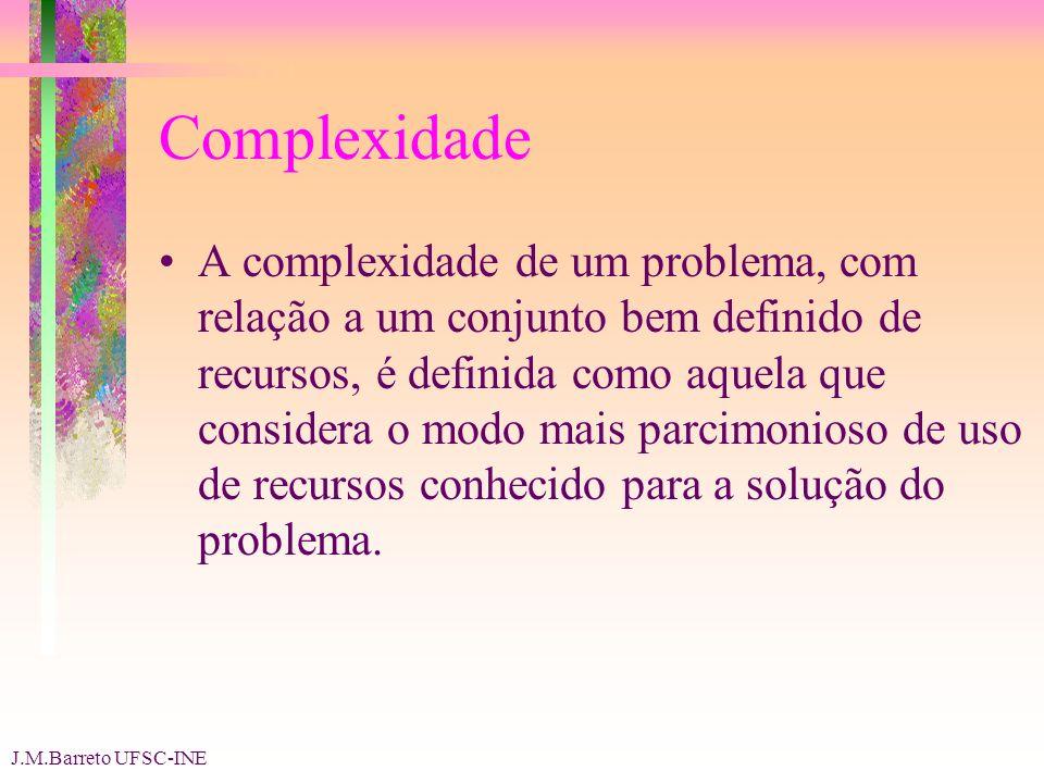 J.M.Barreto UFSC-INE Complexidade A complexidade de um problema, com relação a um conjunto bem definido de recursos, é definida como aquela que considera o modo mais parcimonioso de uso de recursos conhecido para a solução do problema.