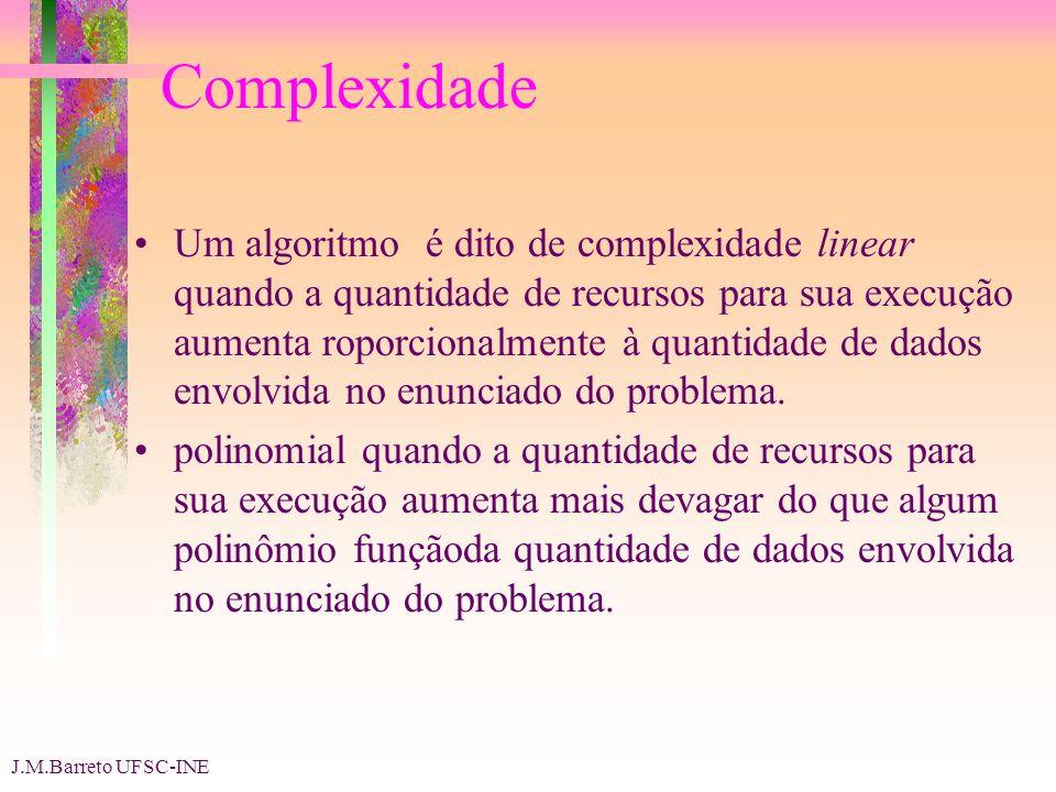 J.M.Barreto UFSC-INE Complexidade Um algoritmo é dito de complexidade linear quando a quantidade de recursos para sua execução aumenta roporcionalmente à quantidade de dados envolvida no enunciado do problema.