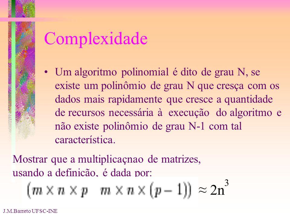 J.M.Barreto UFSC-INE Complexidade Um algoritmo polinomial é dito de grau N, se existe um polinômio de grau N que cresça com os dados mais rapidamente que cresce a quantidade de recursos necessária à execução do algoritmo e não existe polinômio de grau N-1 com tal característica.