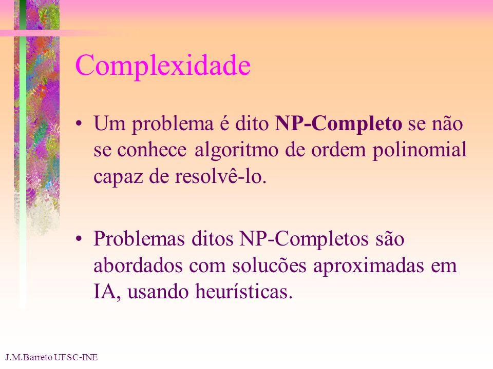 J.M.Barreto UFSC-INE Complexidade Um problema é dito NP-Completo se não se conhece algoritmo de ordem polinomial capaz de resolvê-lo.