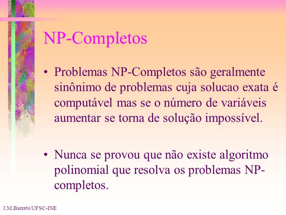 J.M.Barreto UFSC-INE NP-Completos Problemas NP-Completos são geralmente sinônimo de problemas cuja solucao exata é computável mas se o número de variáveis aumentar se torna de solução impossível.