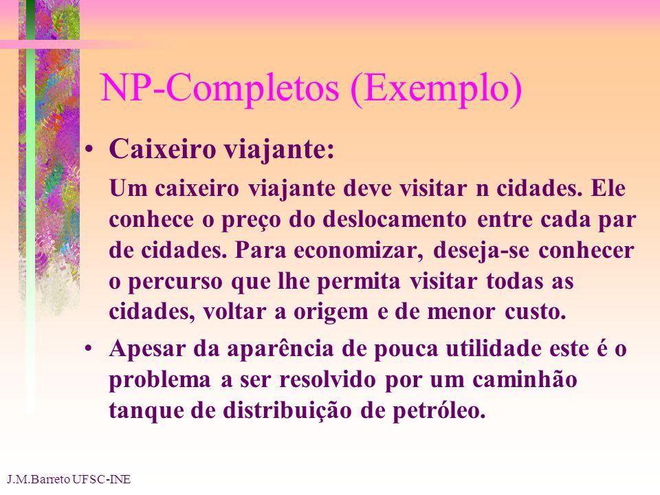 J.M.Barreto UFSC-INE NP-Completos (Exemplo) Caixeiro viajante: Um caixeiro viajante deve visitar n cidades.