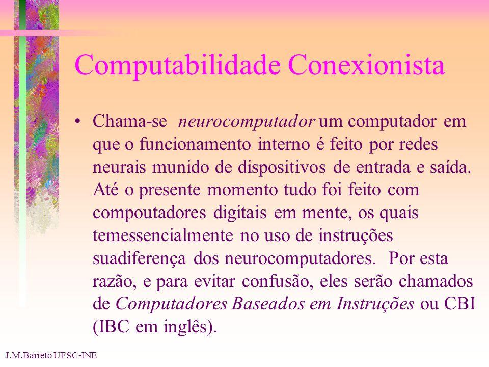 J.M.Barreto UFSC-INE Computabilidade Conexionista Chama-se neurocomputador um computador em que o funcionamento interno é feito por redes neurais munido de dispositivos de entrada e saída.