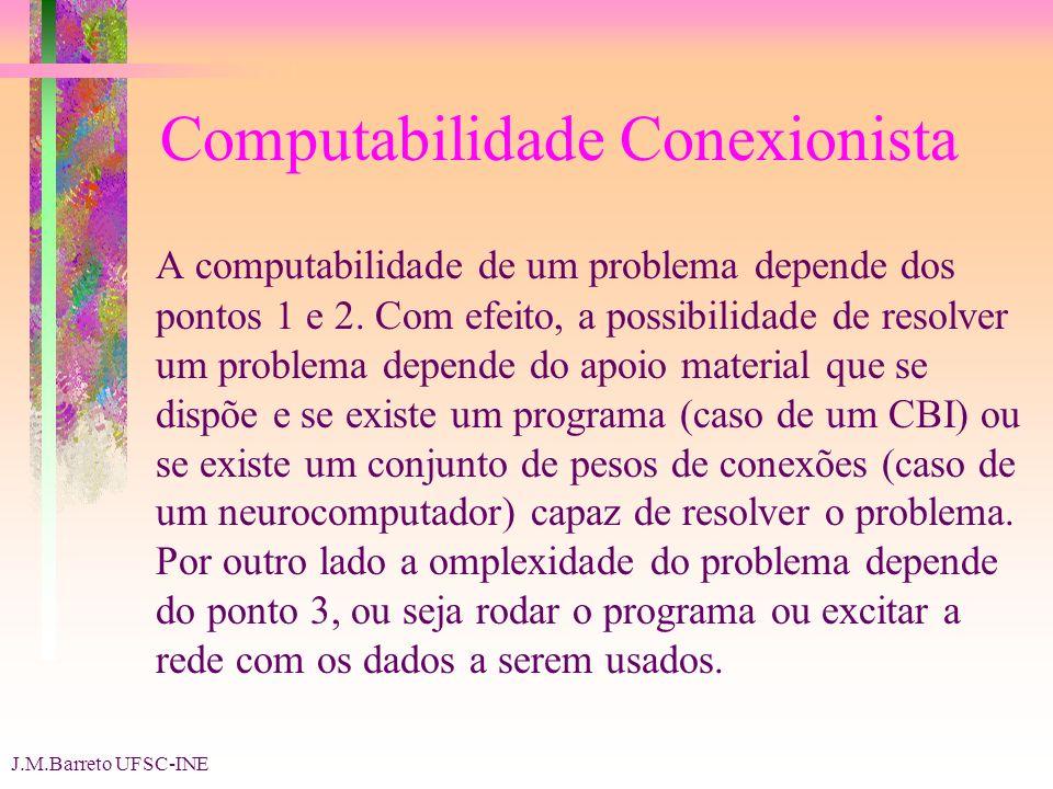 J.M.Barreto UFSC-INE Computabilidade Conexionista A computabilidade de um problema depende dos pontos 1 e 2.