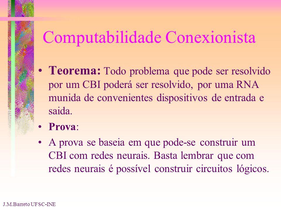 J.M.Barreto UFSC-INE Computabilidade Conexionista Teorema: Todo problema que pode ser resolvido por um CBI poderá ser resolvido, por uma RNA munida de convenientes dispositivos de entrada e saida.