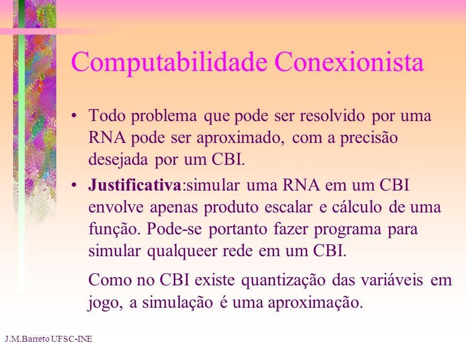 J.M.Barreto UFSC-INE Computabilidade Conexionista Todo problema que pode ser resolvido por uma RNA pode ser aproximado, com a precisão desejada por um CBI.