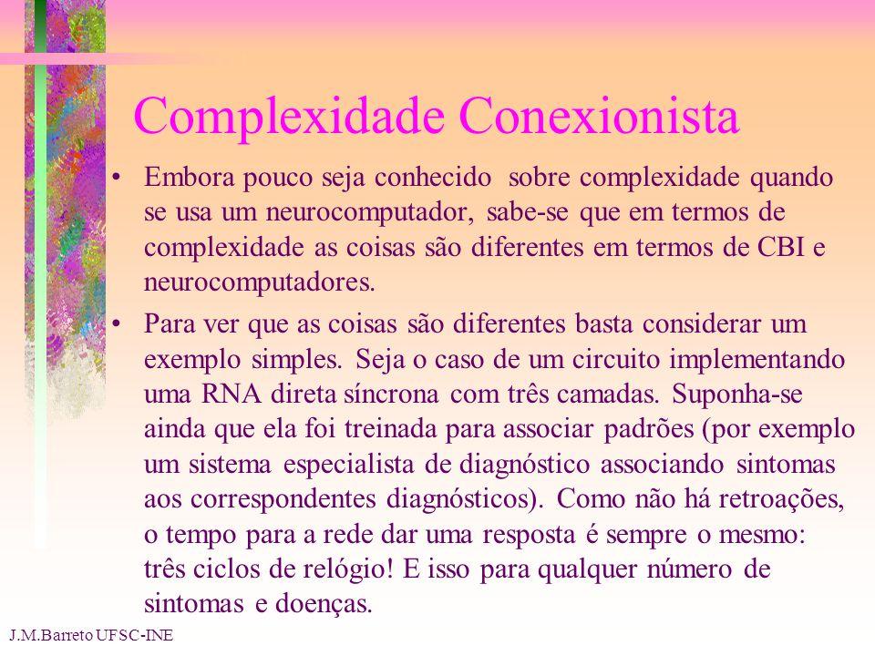 J.M.Barreto UFSC-INE Complexidade Conexionista Embora pouco seja conhecido sobre complexidade quando se usa um neurocomputador, sabe-se que em termos de complexidade as coisas são diferentes em termos de CBI e neurocomputadores.