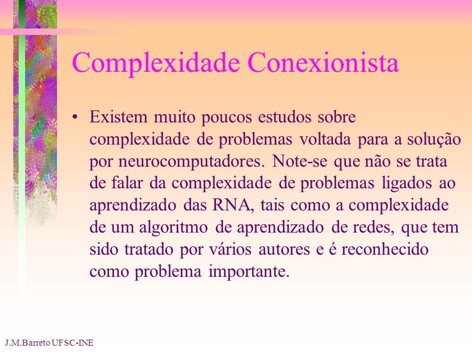 J.M.Barreto UFSC-INE Complexidade Conexionista Existem muito poucos estudos sobre complexidade de problemas voltada para a solução por neurocomputadores.