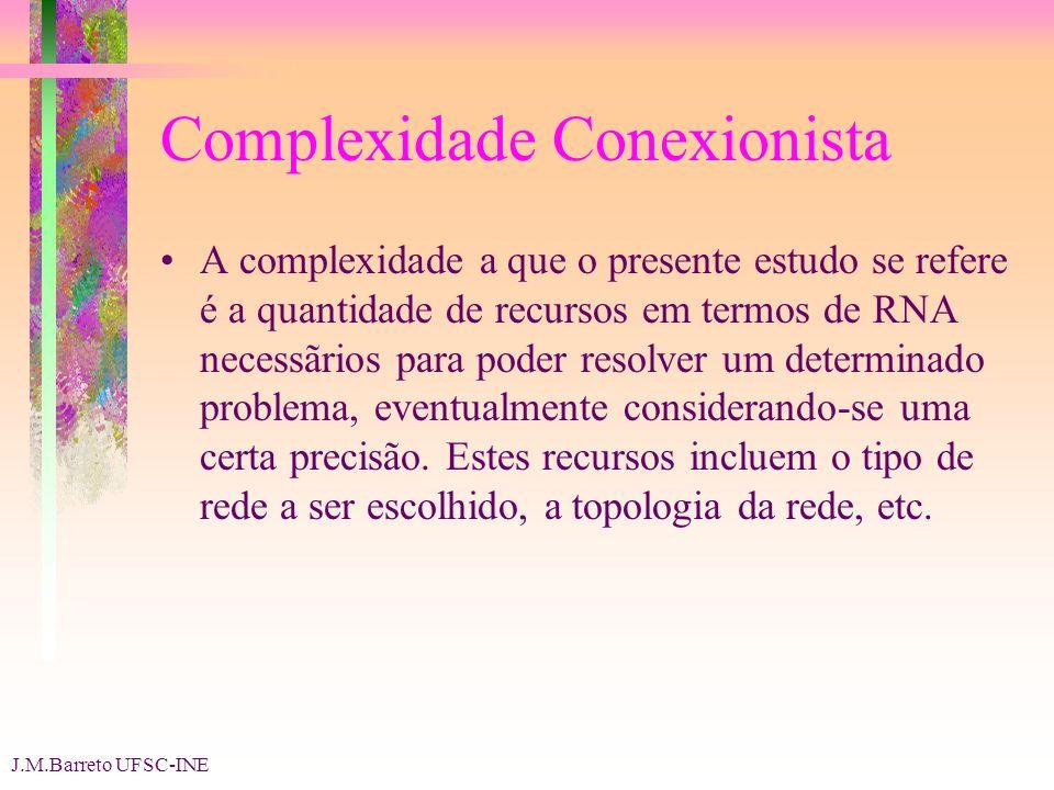 J.M.Barreto UFSC-INE Complexidade Conexionista A complexidade a que o presente estudo se refere é a quantidade de recursos em termos de RNA necessãrios para poder resolver um determinado problema, eventualmente considerando-se uma certa precisão.