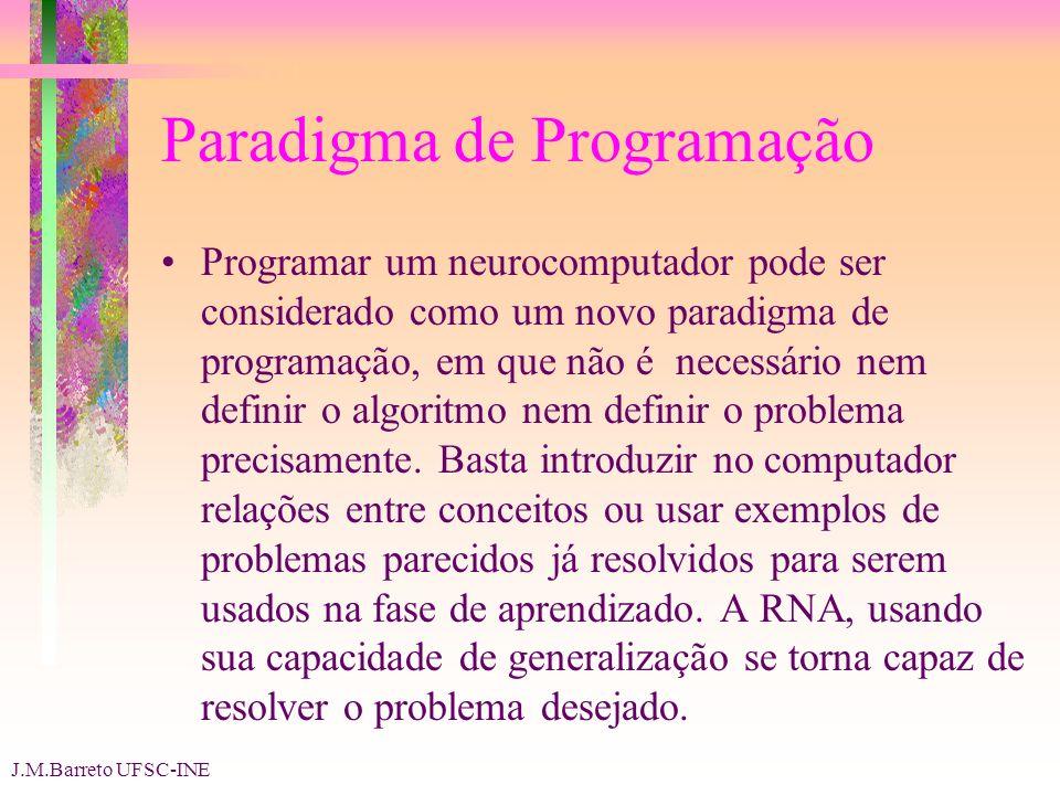 J.M.Barreto UFSC-INE Paradigma de Programação Programar um neurocomputador pode ser considerado como um novo paradigma de programação, em que não é necessário nem definir o algoritmo nem definir o problema precisamente.