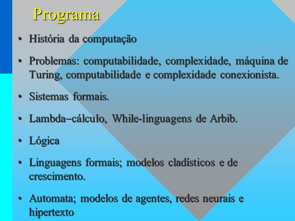 Programa História da computaçãoHistória da computação Problemas: computabilidade, complexidade, máquina de Turing, computabilidade e complexidade cone