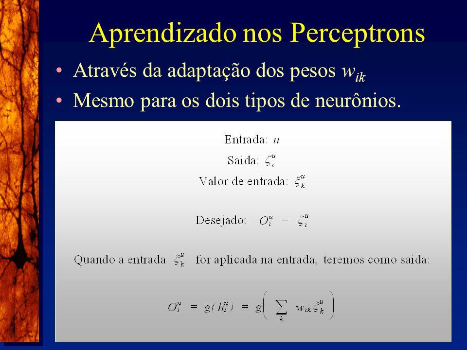 Aprendizado nos Perceptrons Através da adaptação dos pesos w ik Mesmo para os dois tipos de neurônios.
