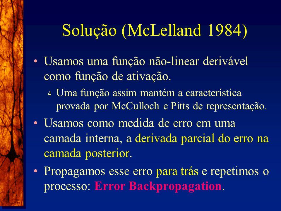 Solução (McLelland 1984) Usamos uma função não-linear derivável como função de ativação.