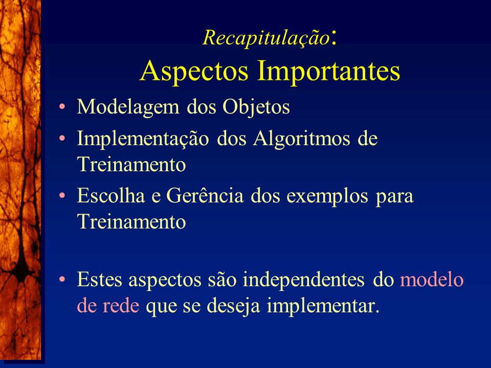 Recapitulação : Aspectos Importantes Modelagem dos Objetos Implementação dos Algoritmos de Treinamento Escolha e Gerência dos exemplos para Treinamento Estes aspectos são independentes do modelo de rede que se deseja implementar.