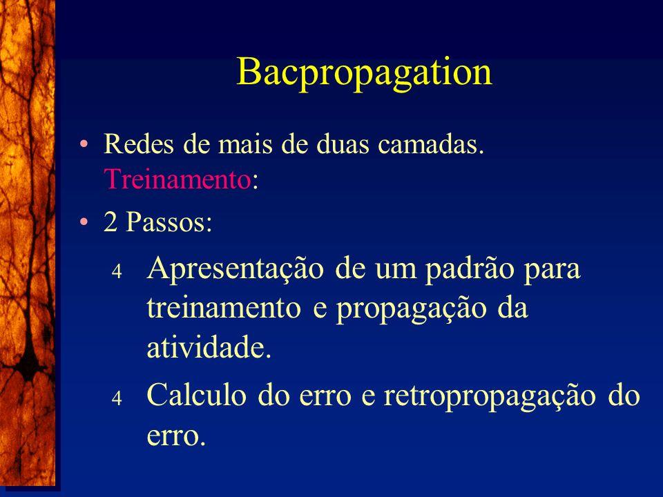 Bacpropagation Redes de mais de duas camadas.