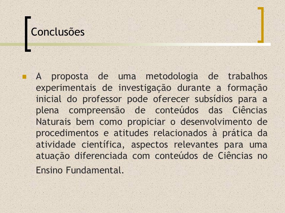 Conclusões A proposta de uma metodologia de trabalhos experimentais de investigação durante a formação inicial do professor pode oferecer subsídios pa