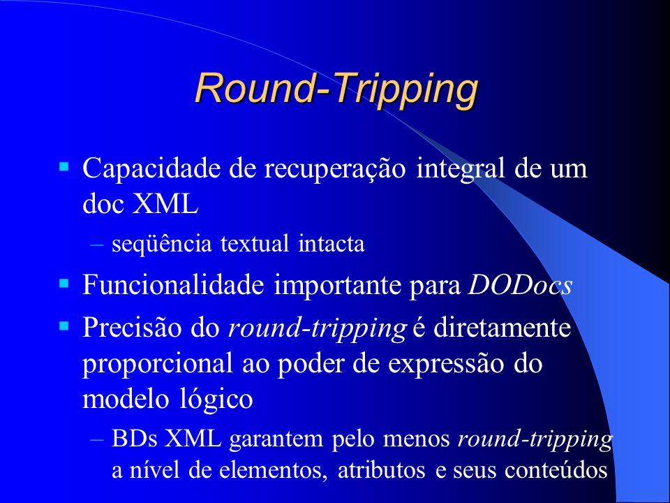 Round-Tripping Capacidade de recuperação integral de um doc XML –seqüência textual intacta Funcionalidade importante para DODocs Precisão do round-tripping é diretamente proporcional ao poder de expressão do modelo lógico –BDs XML garantem pelo menos round-tripping a nível de elementos, atributos e seus conteúdos