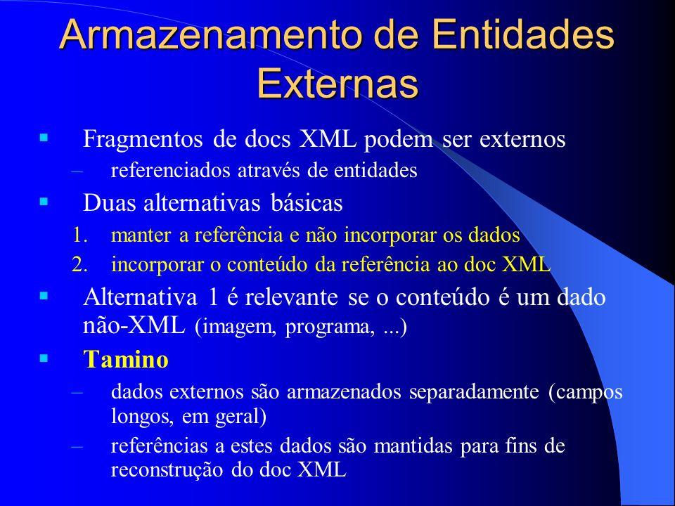 Armazenamento de Entidades Externas Fragmentos de docs XML podem ser externos –referenciados através de entidades Duas alternativas básicas 1.manter a referência e não incorporar os dados 2.incorporar o conteúdo da referência ao doc XML Alternativa 1 é relevante se o conteúdo é um dado não-XML (imagem, programa,...) Tamino –dados externos são armazenados separadamente (campos longos, em geral) –referências a estes dados são mantidas para fins de reconstrução do doc XML