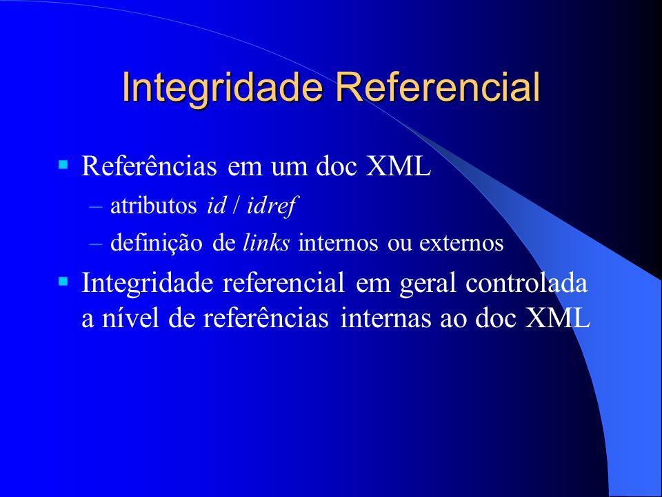Integridade Referencial Referências em um doc XML –atributos id / idref –definição de links internos ou externos Integridade referencial em geral controlada a nível de referências internas ao doc XML