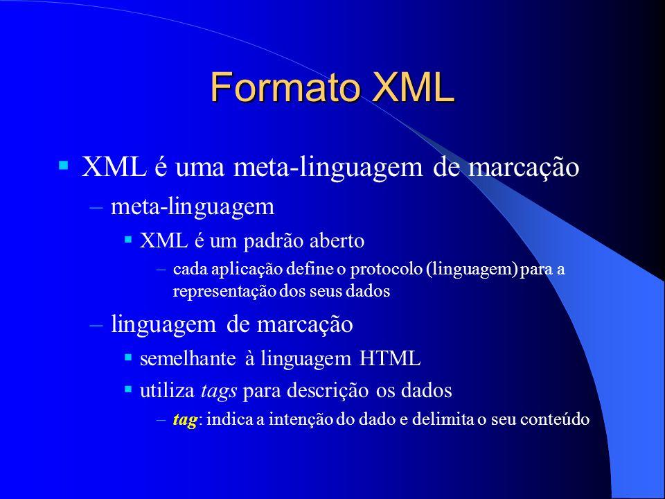 Formato XML XML é uma meta-linguagem de marcação –meta-linguagem XML é um padrão aberto –cada aplicação define o protocolo (linguagem) para a representação dos seus dados –linguagem de marcação semelhante à linguagem HTML utiliza tags para descrição os dados –tag: indica a intenção do dado e delimita o seu conteúdo