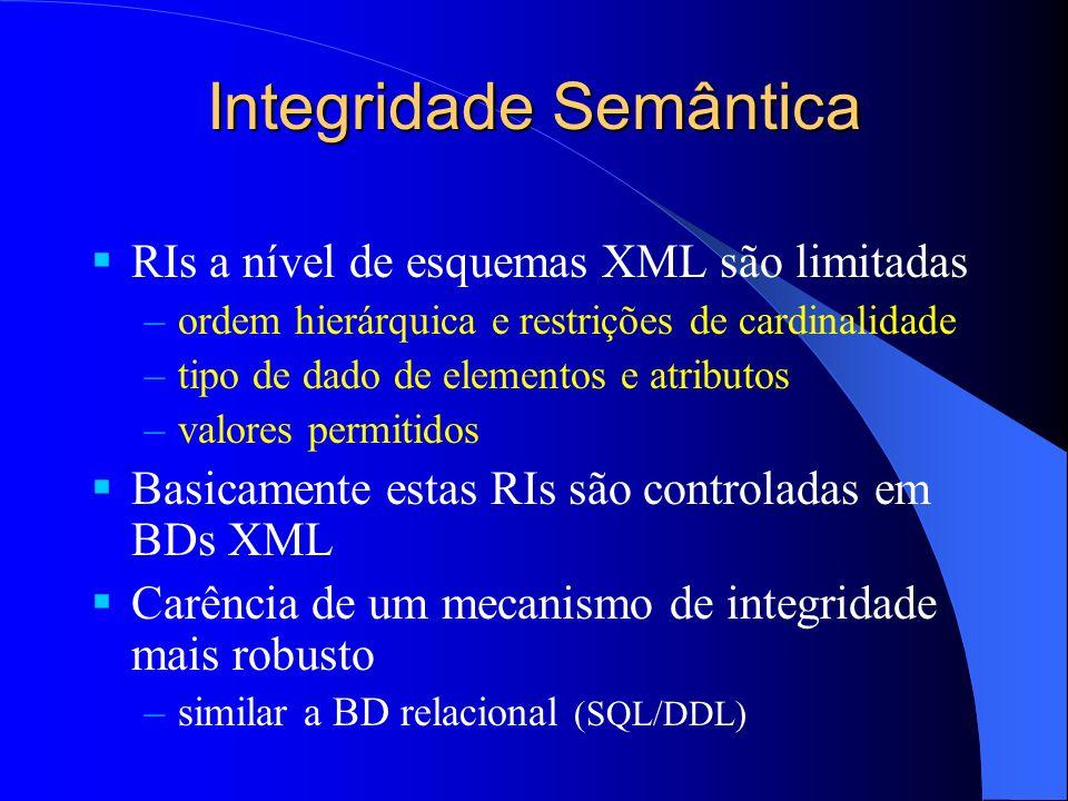Integridade Semântica RIs a nível de esquemas XML são limitadas –ordem hierárquica e restrições de cardinalidade –tipo de dado de elementos e atributos –valores permitidos Basicamente estas RIs são controladas em BDs XML Carência de um mecanismo de integridade mais robusto –similar a BD relacional (SQL/DDL)