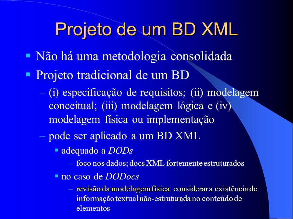 Projeto de um BD XML Não há uma metodologia consolidada Projeto tradicional de um BD –(i) especificação de requisitos; (ii) modelagem conceitual; (iii) modelagem lógica e (iv) modelagem física ou implementação –pode ser aplicado a um BD XML adequado a DODs –foco nos dados; docs XML fortemente estruturados no caso de DODocs –revisão da modelagem física: considerar a existência de informação textual não-estruturada no conteúdo de elementos