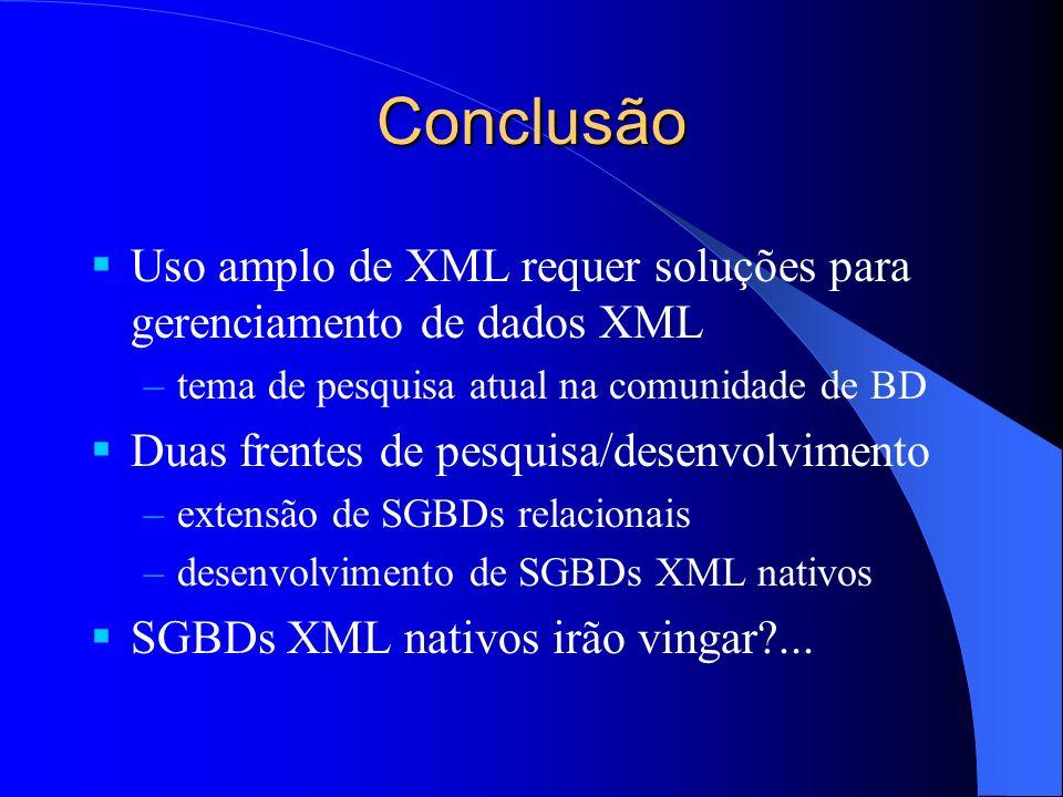 Conclusão Uso amplo de XML requer soluções para gerenciamento de dados XML –tema de pesquisa atual na comunidade de BD Duas frentes de pesquisa/desenvolvimento –extensão de SGBDs relacionais –desenvolvimento de SGBDs XML nativos SGBDs XML nativos irão vingar?...