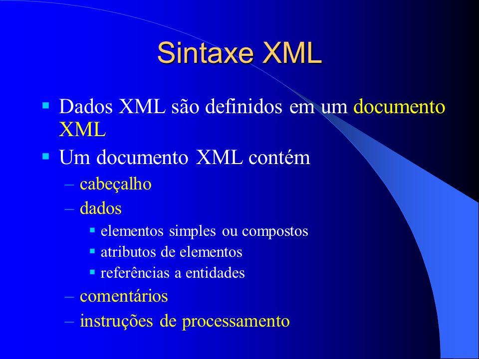 Sintaxe XML Dados XML são definidos em um documento XML Um documento XML contém –cabeçalho –dados elementos simples ou compostos atributos de elementos referências a entidades –comentários –instruções de processamento
