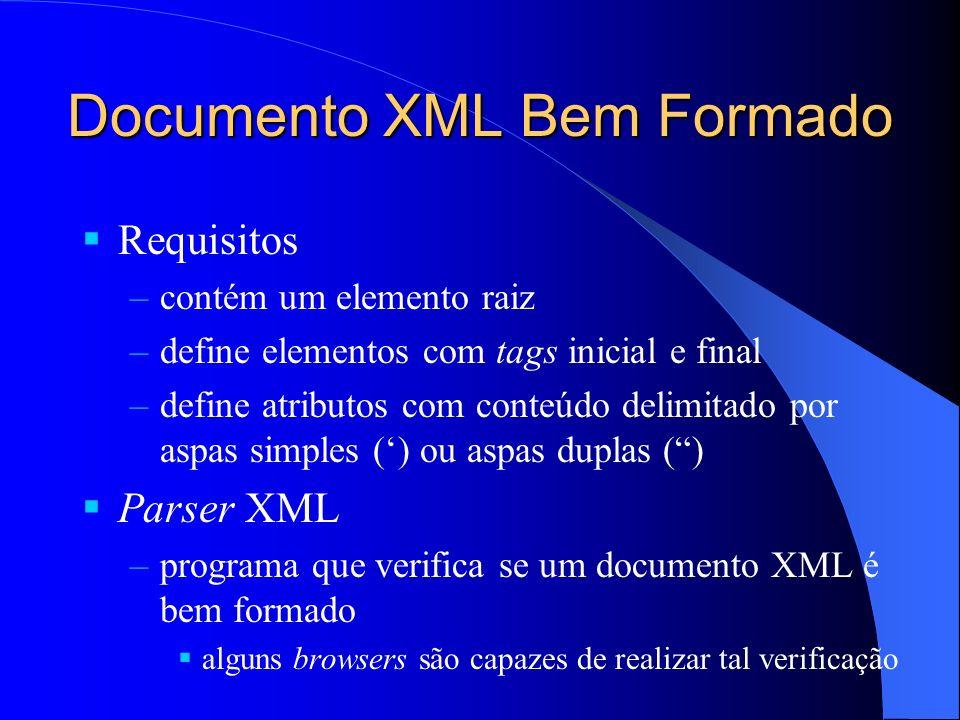 Documento XML Bem Formado Requisitos –contém um elemento raiz –define elementos com tags inicial e final –define atributos com conteúdo delimitado por aspas simples () ou aspas duplas () Parser XML –programa que verifica se um documento XML é bem formado alguns browsers são capazes de realizar tal verificação