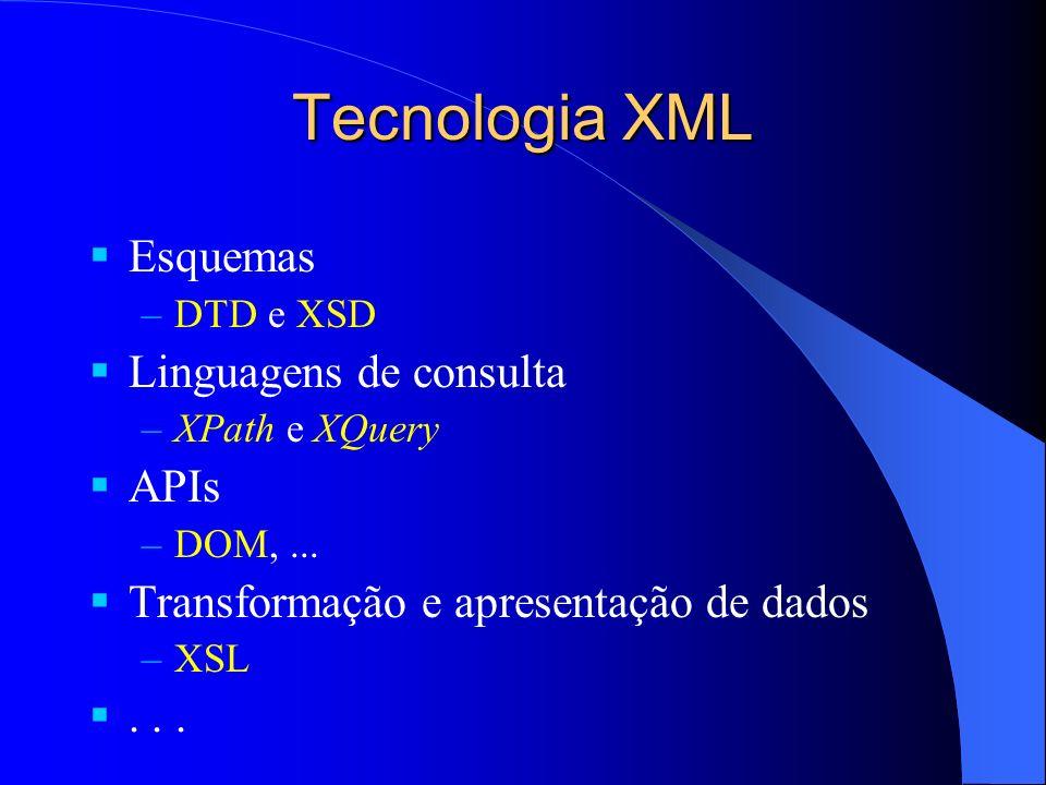 Tecnologia XML Esquemas –DTD e XSD Linguagens de consulta –XPath e XQuery APIs –DOM,...