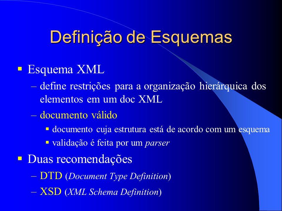 Definição de Esquemas Esquema XML –define restrições para a organização hierárquica dos elementos em um doc XML –documento válido documento cuja estrutura está de acordo com um esquema validação é feita por um parser Duas recomendações –DTD (Document Type Definition) –XSD (XML Schema Definition)