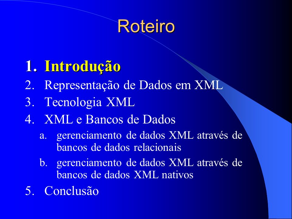 Resultados de Consultas em XML Exemplo 1 – Oracle 9i com SQL/XML SELECT XMLElement(Editoras , XMLAttributes(e.razao_social AS nome ), XMLAgg( XMLElement(Livro , XMLForest (l.título AS nome, l.ano AS ano, l.nroPags AS páginas)))) FROM editoras e INNER JOIN livros l ON e.código = l.editora GROUP BY e.razao_social;