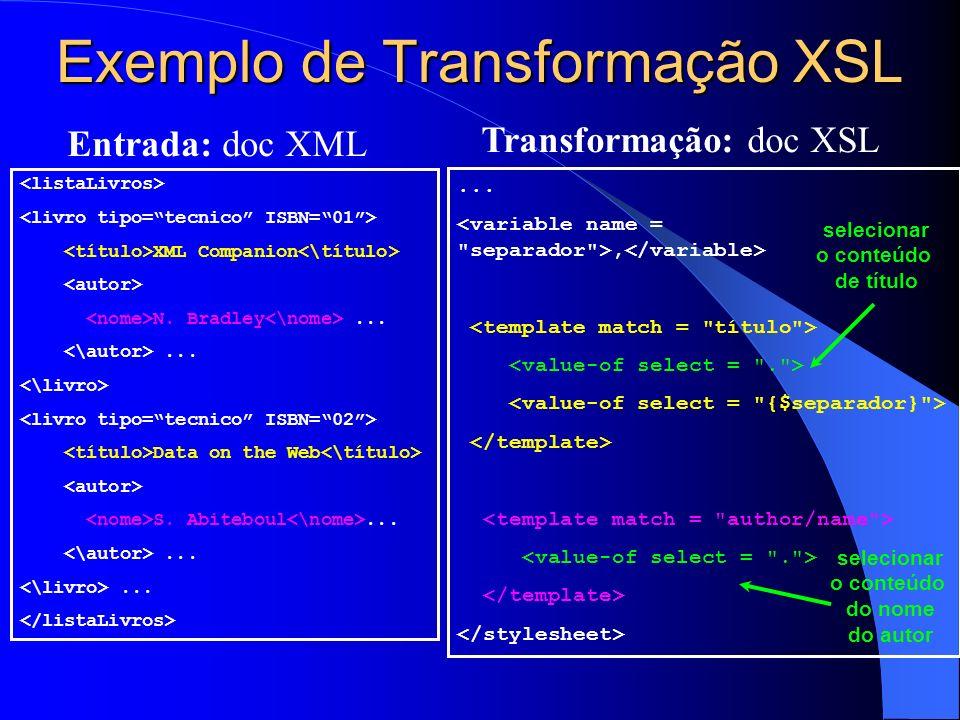 Exemplo de Transformação XSL XML Companion N.Bradley......