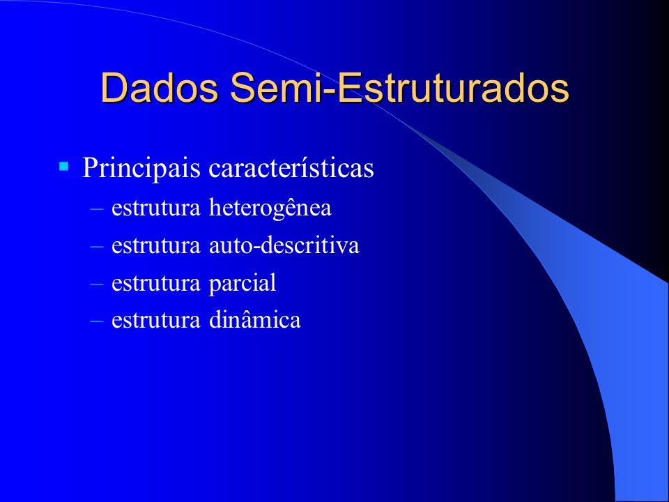 Dados Semi-Estruturados Principais características –estrutura heterogênea –estrutura auto-descritiva –estrutura parcial –estrutura dinâmica